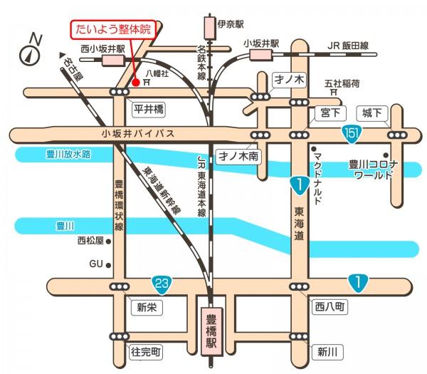 豊川たいよう整体院地図